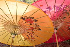 Chinese parasols. Top view of colorful Chinese silk shade parasols Stock Images