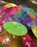 Chinese parasols. Top view of colorful Chinese silk shade parasols Stock Photo