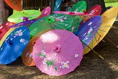 Chinese parasols. Top view of colorful Chinese silk shade parasols Royalty Free Stock Photography