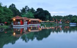 Chinese Park At Dusk Royalty Free Stock Image