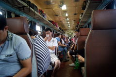 Chinese passenger train and landscape Stock Photography