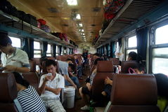 Chinese passenger train and landscape Royalty Free Stock Photography