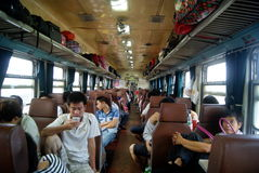 Chinese passenger train and landscape Royalty Free Stock Images