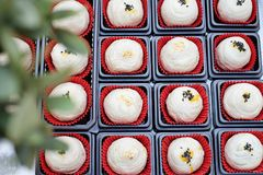 Chinese pastries are in a box with red paper royalty free stock photo