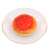Chinese pastry on dish. Chinese pastry or Moon cake,traditional food of Chinese Stock Photo
