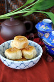 Chinese Pastry with Tea Set Stock Photos