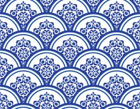 Chinese pattern. Blue and white seamless pattern vector illustration, Floral ornament on watercolor backdrop. Chinese porcelain painting design Stock Images