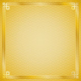 Chinese pattern frame. Oriental vintage gold frame on gold pattern background for chinese new year celebration card Royalty Free Stock Photography
