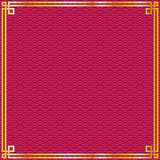 Chinese pattern frame. Oriental vintage gold frame on red pattern background for chinese new year celebration card royalty free illustration
