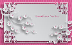 Chinese pattern frame with sakura branches. Branches of cherry blossoms, oriental frame on pink pattern background for chinese new year greeting card, paper cut vector illustration