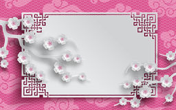 Chinese pattern frame with sakura branches and clouds. Branches of cherry blossoms, oriental frame on pink pattern background for chinese new year greeting card vector illustration