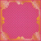 Chinese pattern gold frame. Oriental vintage gold frame on red pattern background for chinese new year celebration card vector illustration