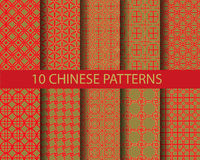 10 chinese patterns Royalty Free Stock Images