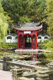 Chinese pavilion in beautiful garden with pond. Little Chinese pavilion in beautiful garden with pond and on the foreground a balcony Royalty Free Stock Photo