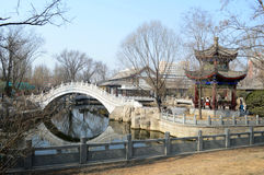 Chinese pavilion and bridge. In park Stock Photo