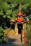 Chinese pavilion with bridge in park of Villa Durazzo-Pallavicini Royalty Free Stock Photos