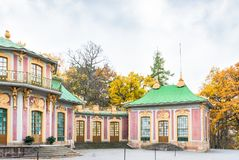 Chinese pavilion in Drottningholm Palace on a cloudy autumn day Royalty Free Stock Photography
