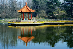 Chinese pavilion in lake Stock Images