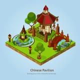 Chinese Pavilion Landscape Design Concept Stock Images