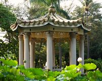 Chinese Pavilion in a Lotus Flower Stock Photos