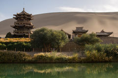 Chinese pavilion near Crescent Moon Lake in the desert Royalty Free Stock Image