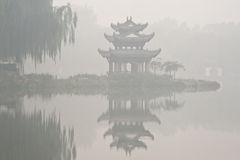 A chinese pavilion and it's reflection Stock Photography