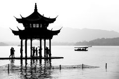 Chinese pavilion in silhouette Royalty Free Stock Photo