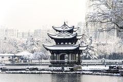 A Chinese pavilion in the snow Stock Photos