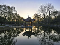 Chinese pavilion at sunrise. A park in Beijing Stock Photography
