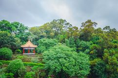 Chinese pavilion and temples at the Chinese Garden within a park with trees. A Chinese pavilion and temples at the Chinese Garden within a park with trees royalty free stock photos
