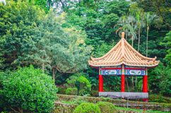 Chinese pavilion and temples at the Chinese Garden within a park with trees. A Chinese pavilion and temples at the Chinese Garden within a park with trees stock photography