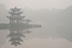 A chinese pavilion under the fog Stock Image