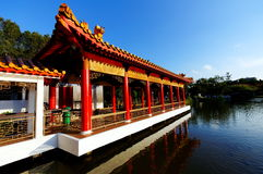 Chinese pavilion and walkway Royalty Free Stock Photos