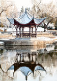 Chinese pavilion in winter Royalty Free Stock Images