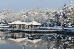 Chinese pavilion in winter Royalty Free Stock Photos