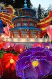 Chinese paviljoen en lantaarns bij Guangzhou-lantaarnfestival royalty-vrije stock foto
