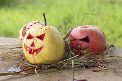 Chinese pear and apple for halloween Stock Photography