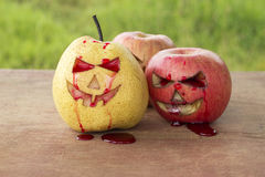 Chinese pear and apple for halloween Stock Photo