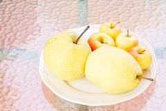 Chinese pear and apple. Stock Photos