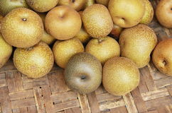 Chinese pear on basket Royalty Free Stock Photography