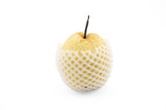 Chinese pear with foam protection net on isolated white backgrou Royalty Free Stock Image