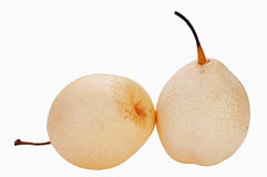 Chinese pear isolated. Couple of fresh chinese pear on white isolated Stock Photos