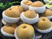 Chinese pear at the market. Royalty Free Stock Image