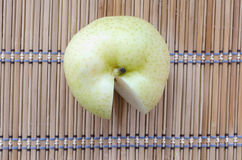 Chinese pear on mat. One chinese pear on japanese style mat Stock Image