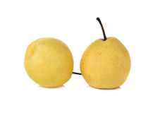 Chinese pear or Nashi pear with stem on white Royalty Free Stock Photography