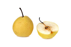Chinese pear or Nashi pear with stem on white Stock Image