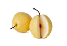 Chinese pear or Nashi pear with stem on white Royalty Free Stock Image