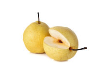 Chinese pear or Nashi pear with stem on white Royalty Free Stock Images