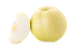 Chinese pear and Sliced  on a whate background Stock Photo