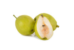 Chinese pear with stem on white Stock Photography